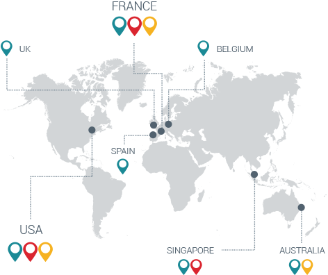 Esker's worldwide network of production facilities for document processing located in France, Belgium, Spain, the U.K., the U.S., Australia and Singapore - Esker Mail Service Solution